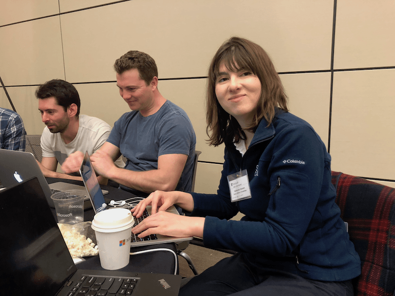 Katherine Hanson, right, worked on a project for a hospital at the hackathon