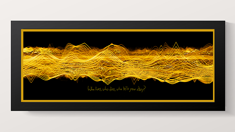 "Win a One of a Kind Artwork Based on the Soundwaves of Hamilton's ""Who Lives Who Dies Who Tells Your Story"" Signed by Lin-Manuel Miranda and Artist Tim Wakefield"