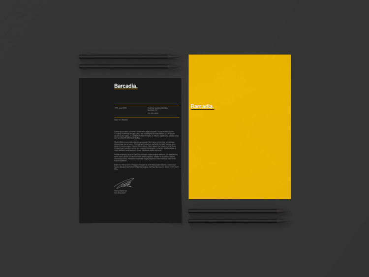 An example of how the Barcadia brand will look as a letterhead