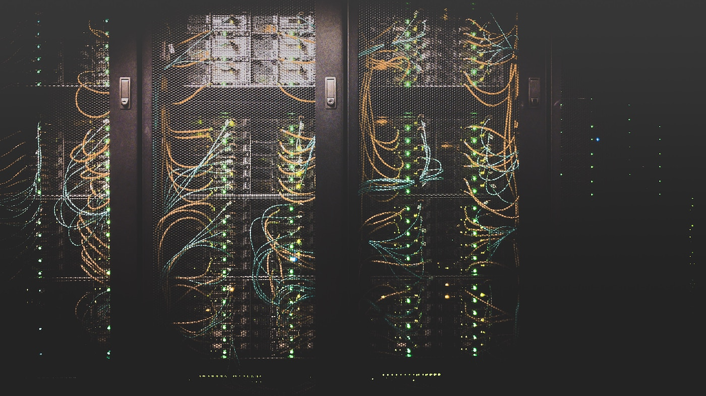 cabinet full of computer servers