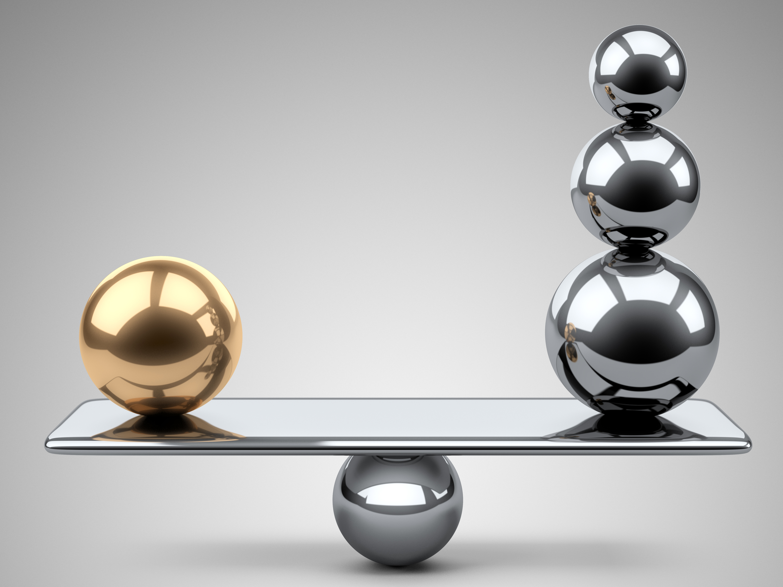 Balance with gold and silver balls