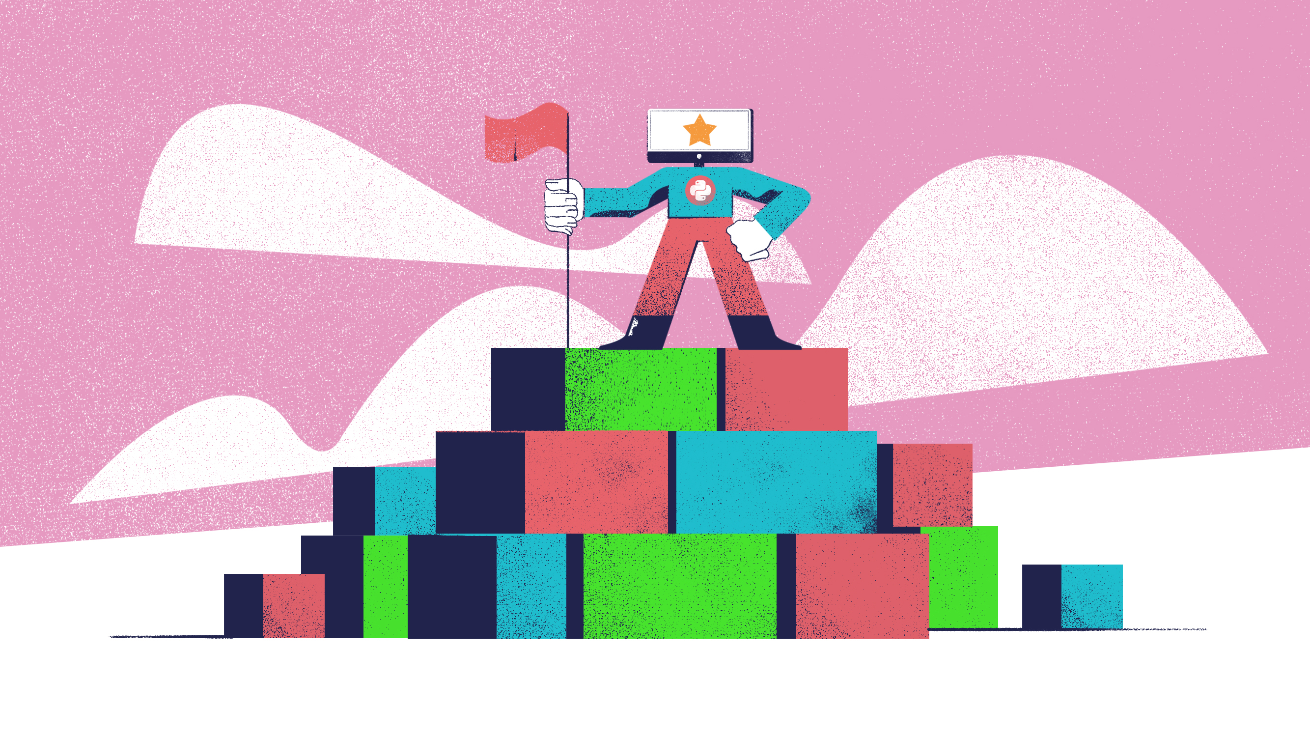 Python Guru planting a flag atop of a mountain made of abstract cubes, representing his progress in learning to code. With a dark pink background to match the day 30 image.