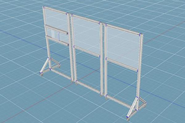 Movable plexiglass shields