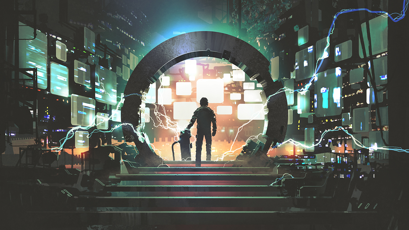 A man is silhouetted against a circular portal in room filled with space-age machinery, as arcs of electricity crackle in the foreground