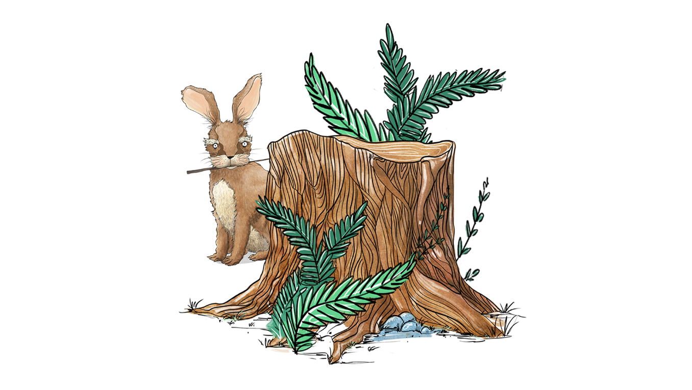 A drawing of a rabbit with a wand in its mouth hiding behind a tree stump and foliage