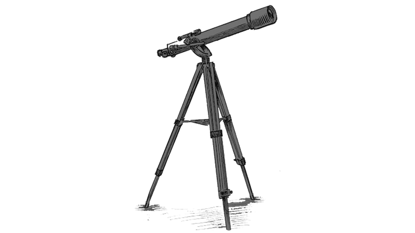 A drawing of a grey telescope pointing upward