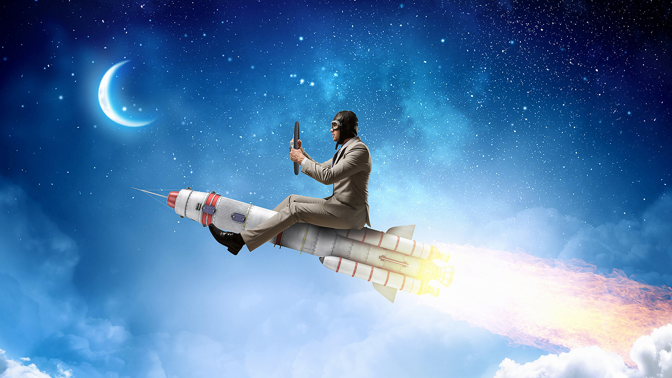 Fictional image of a man in a suit sits on top of a small rocket ship that is blasting off in a dark sky towards the moon