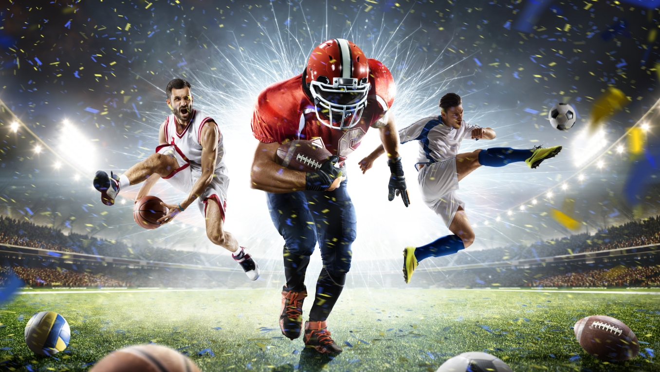 A poster featuring a basketball player, soccer player and football player performing in front of fireworks