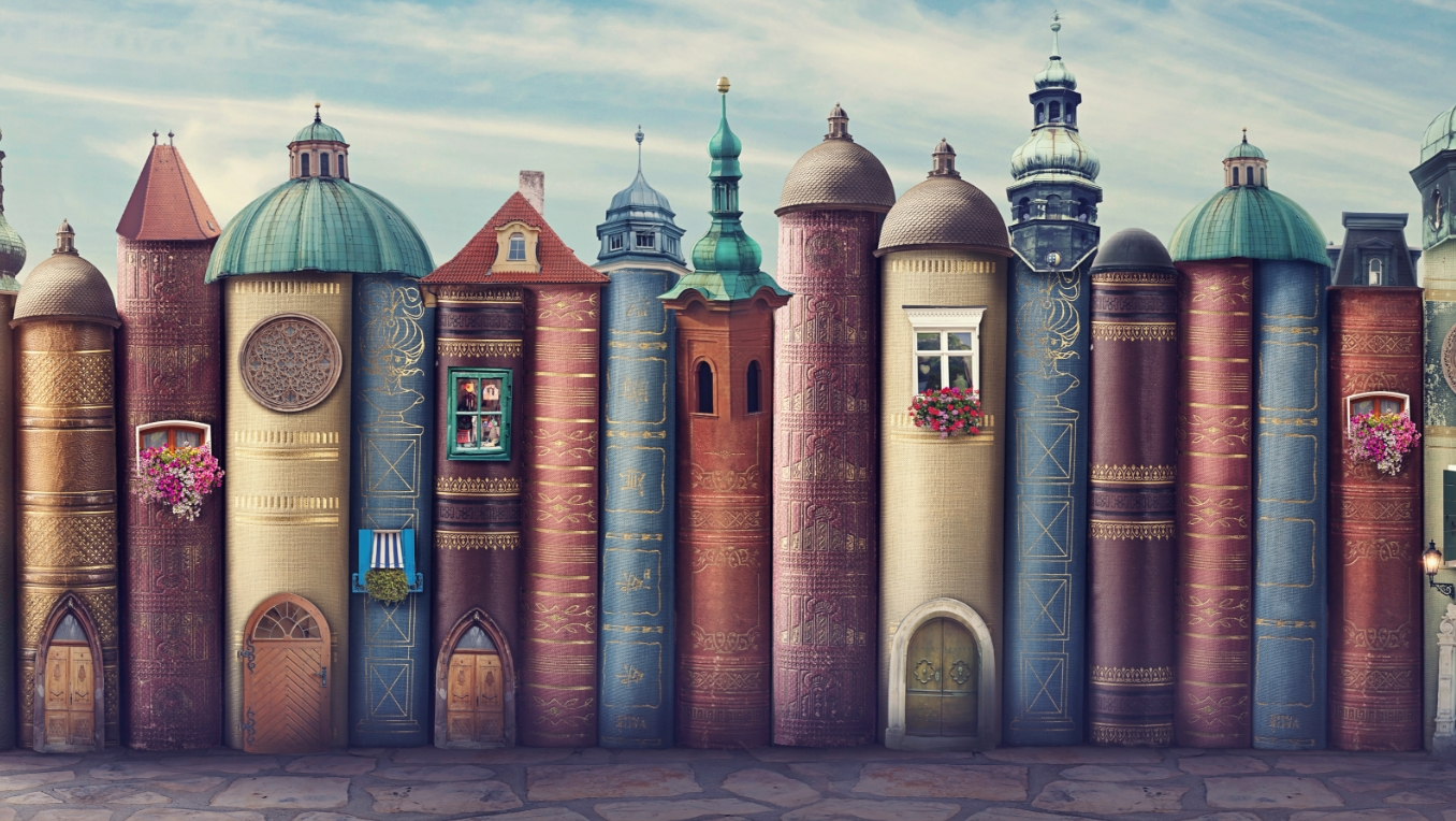 A stylized image of a row of books made too look like medieval rowhouses
