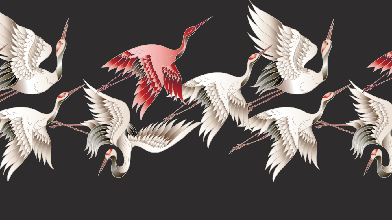 An image of pink and white Japanese cranes taking flight against a black backdrop