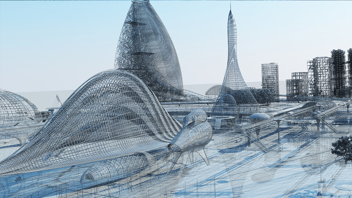 Digital image of a futuristic city with flying vehicles