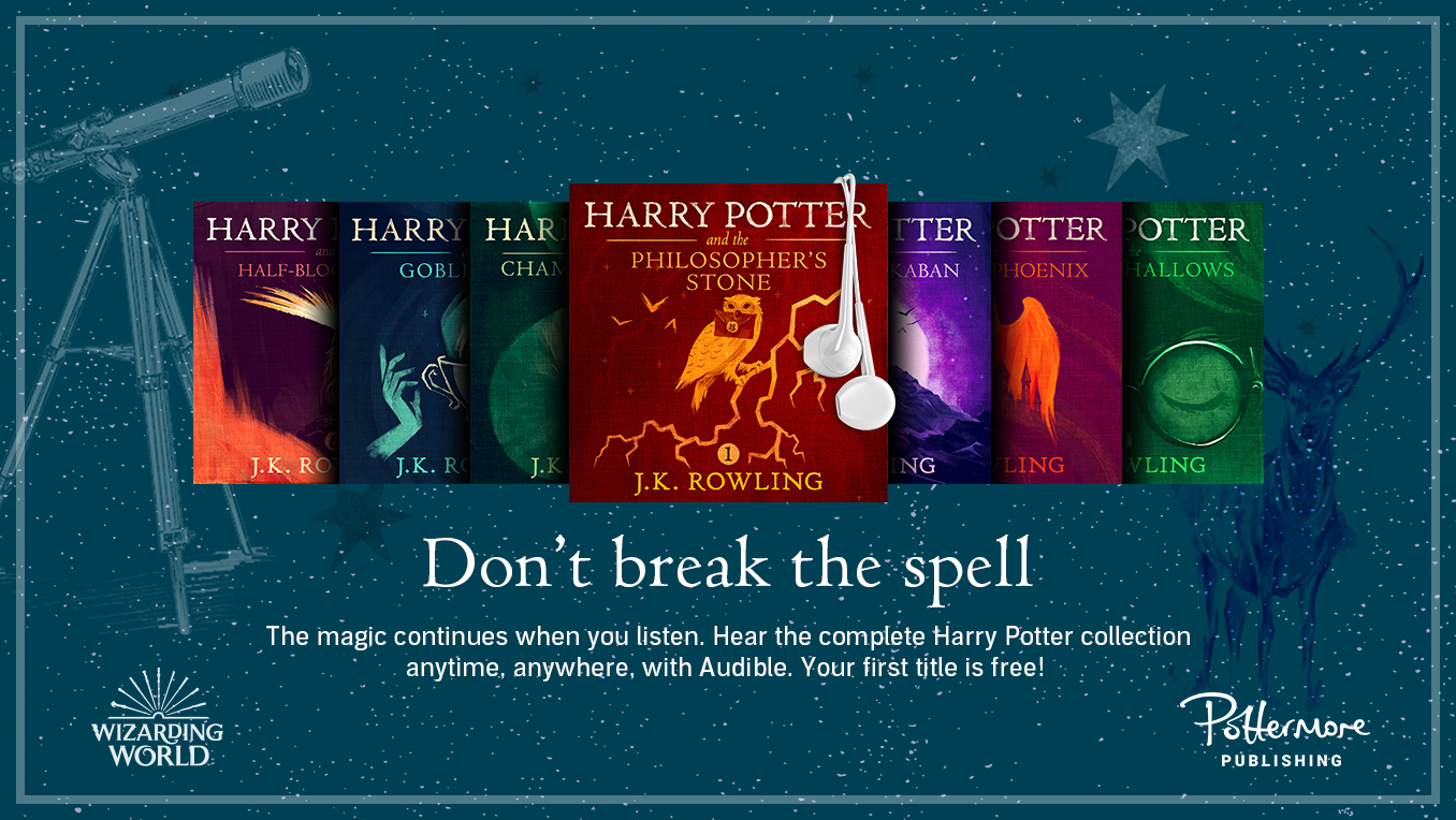 A digital banner showing the covers of various Harry Potter audiobook titles, with white earbuds dangling from the corner of one of them