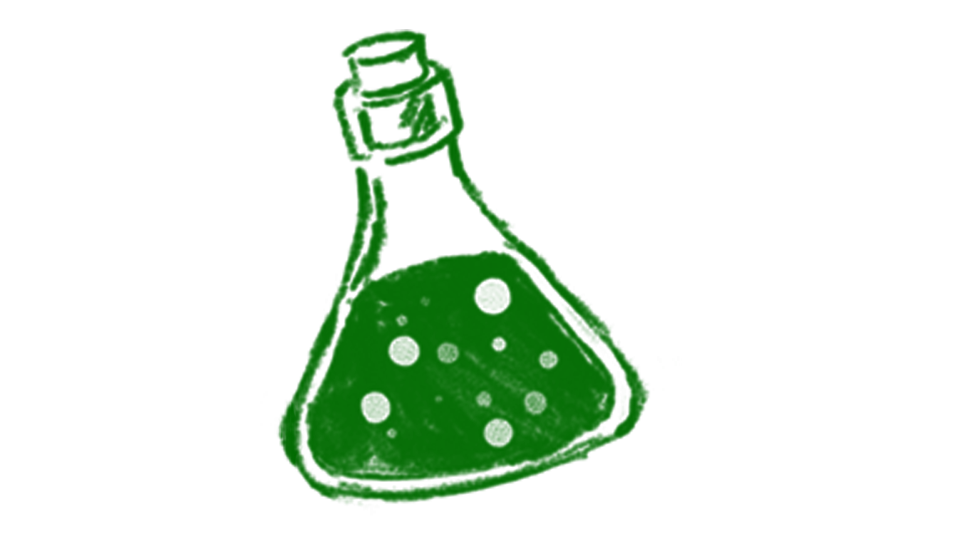 A drawing of a stoppered green vial containing a bubbling chemical liquid