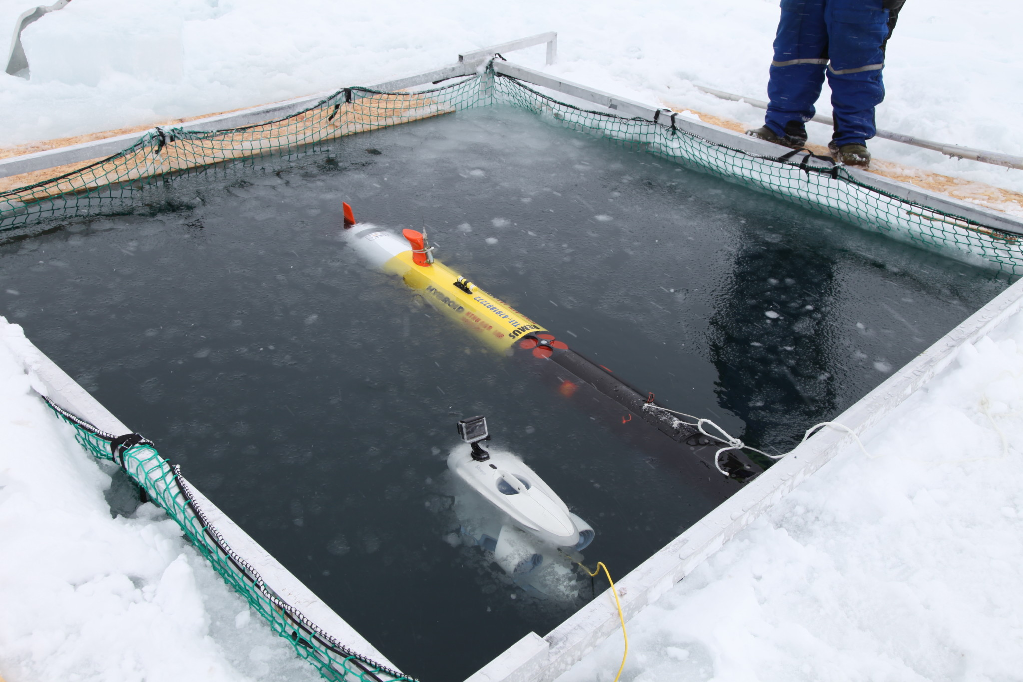 Blueye Pioneer and AUV REMUS 100 in the ice hole