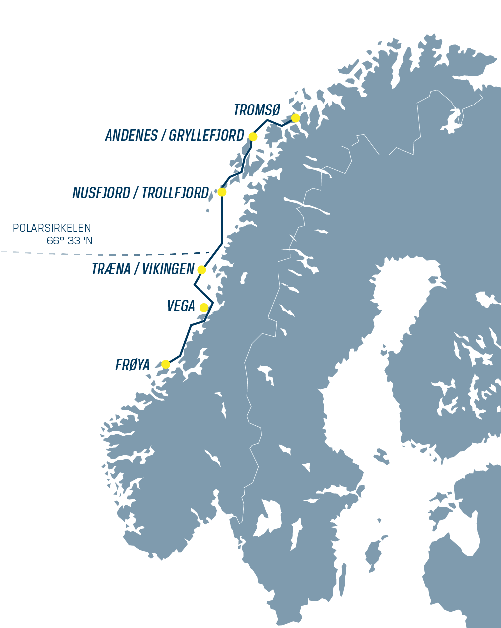 Voyage map from Frøya to Tromsø