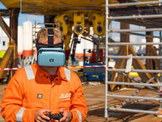Global Maritime using the MovieMask while piloting the drone