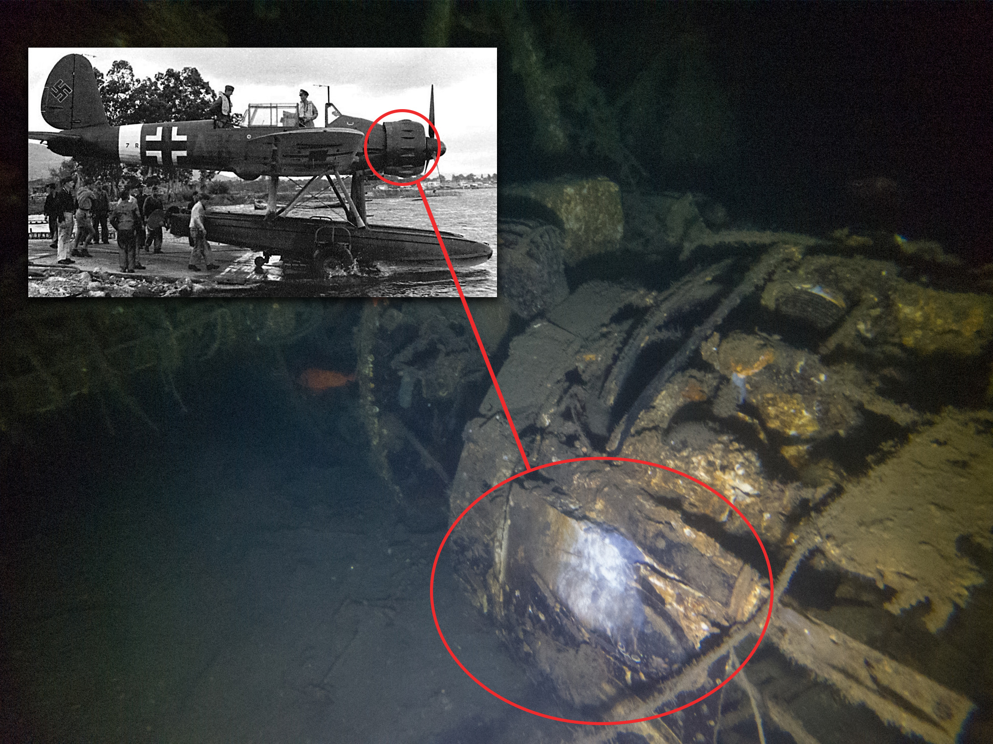 Image showing the enginge covers on an AR 196, compared to the pictures of the wreck