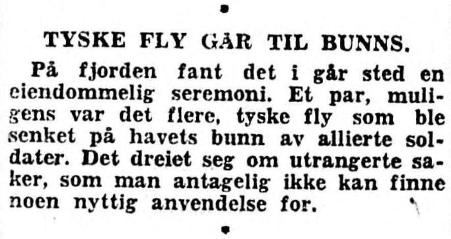 Note from local newspaper Adressa on 13th of September 1945 mentioning the sinking of German aircrafts