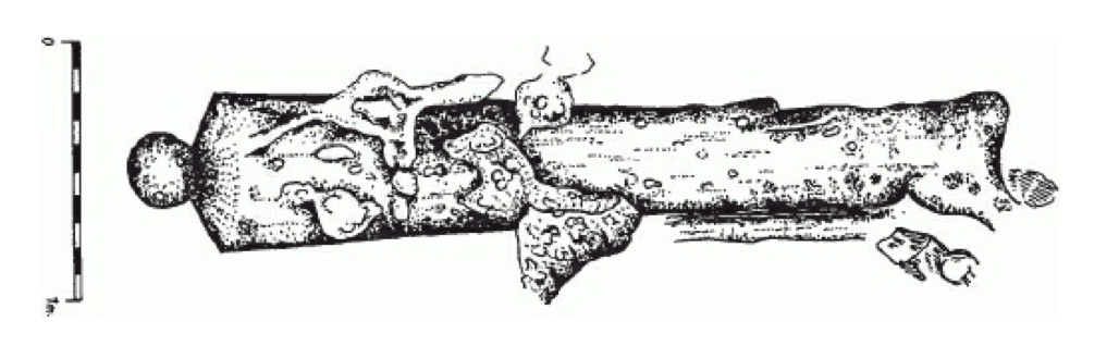 Drawing of one of the cannons from Jedinorog before conservation