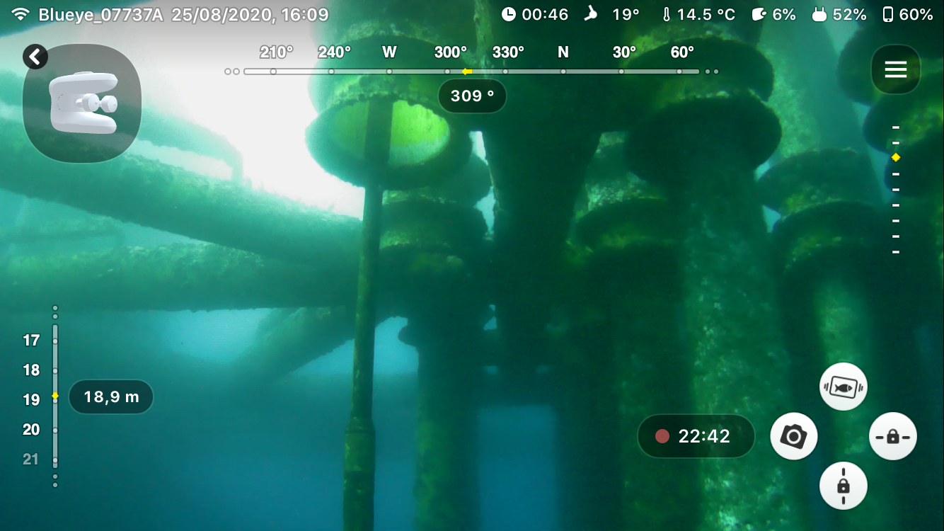 Conductor guide inspection at 15 m depth