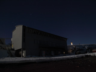 A research building in the polar night