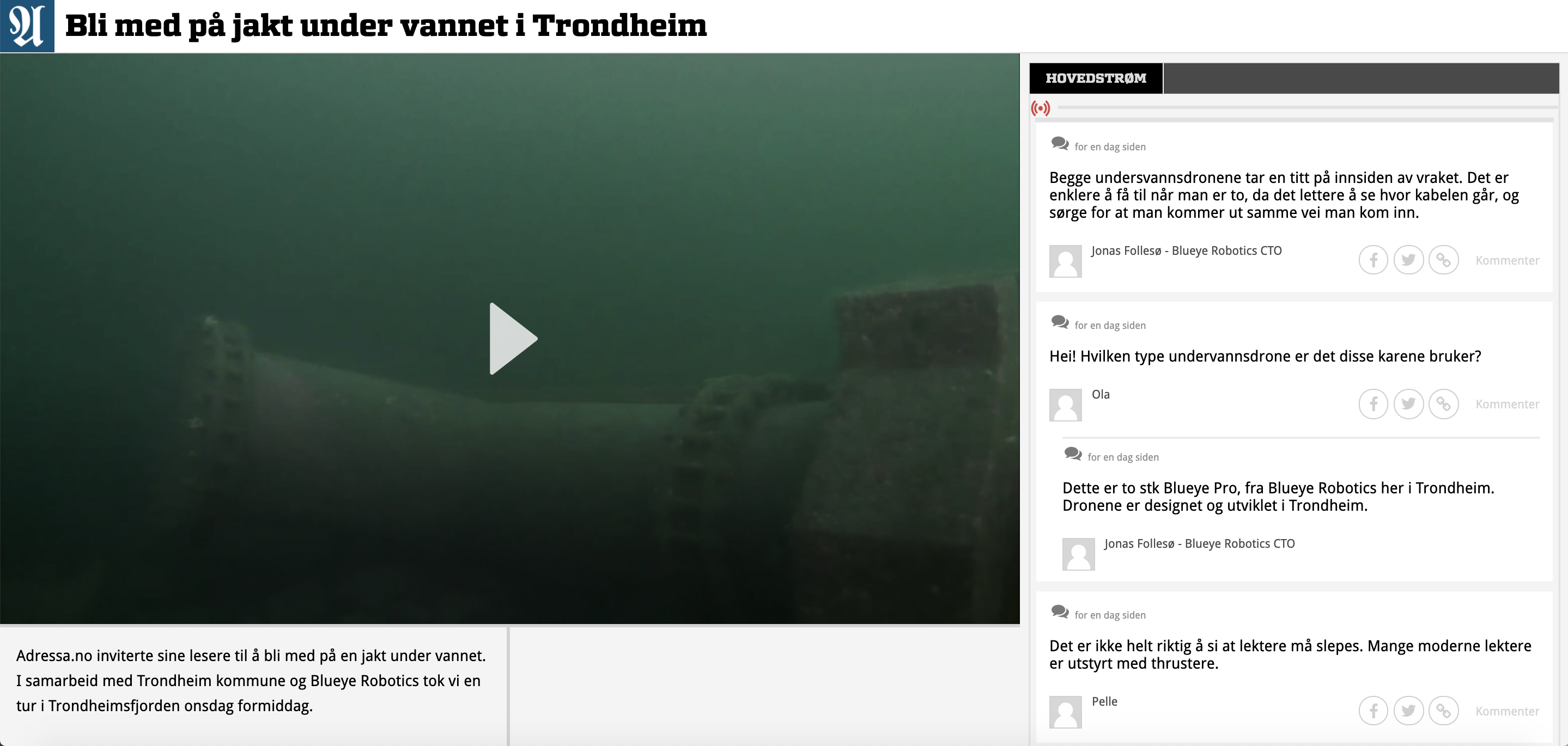 Skjermbilde fra Adresseavisen som viser live videostrøm fra Blueye