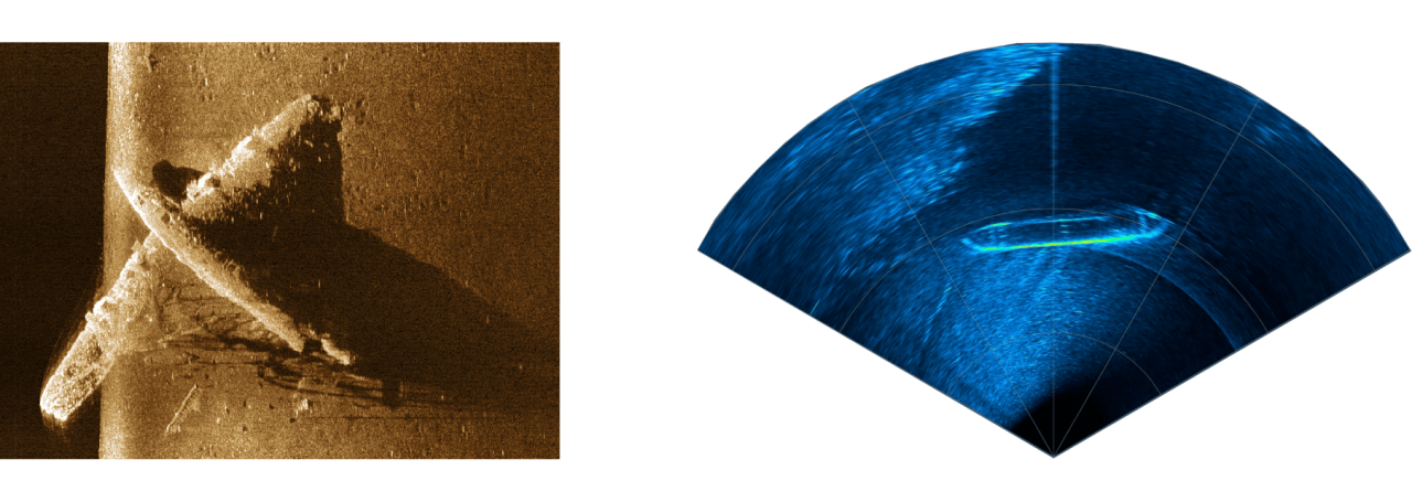 Side scan and multibeam examples captured using the X3.