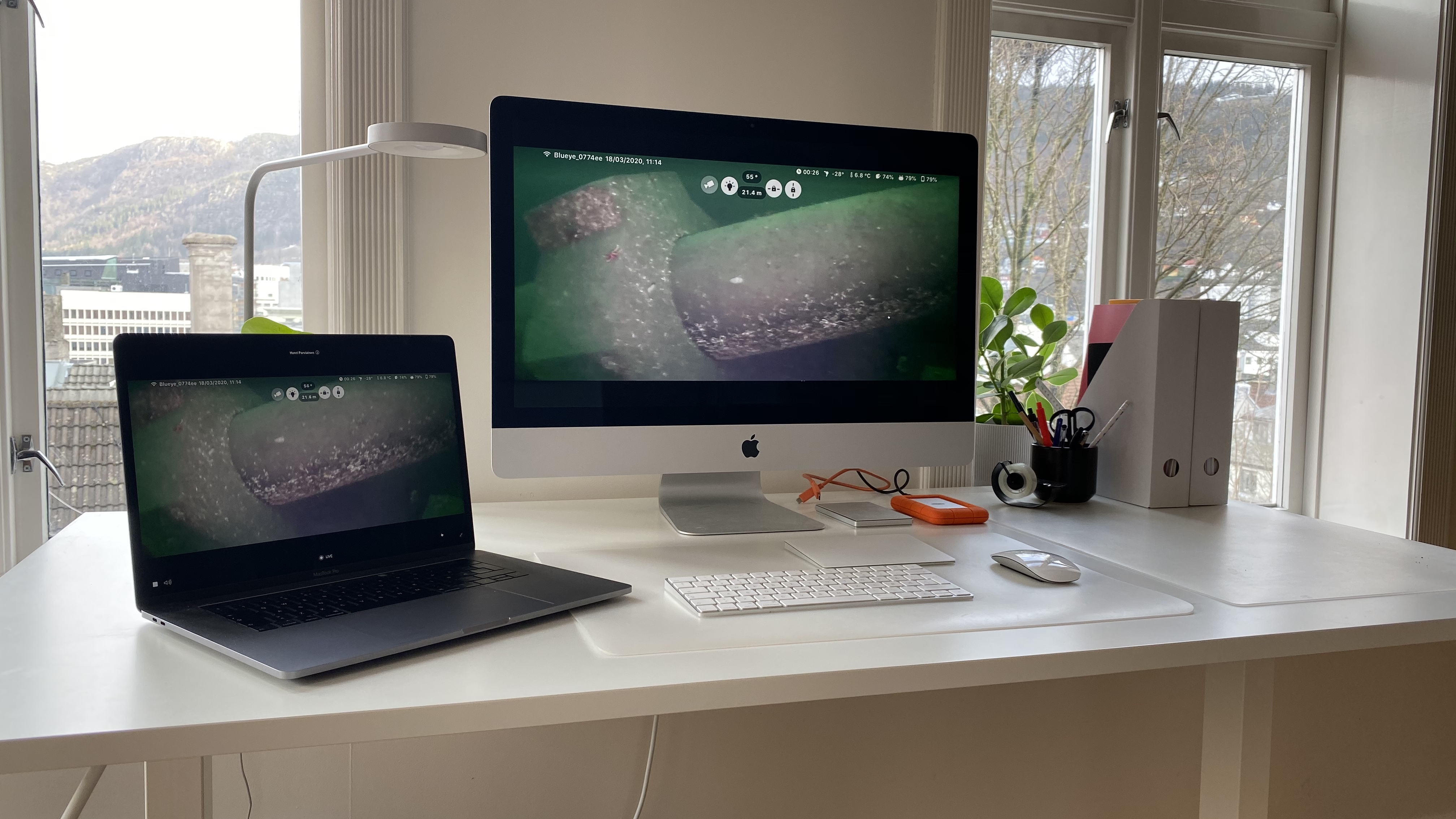 Remote office following a Blueye live stream from Korsvika pipes