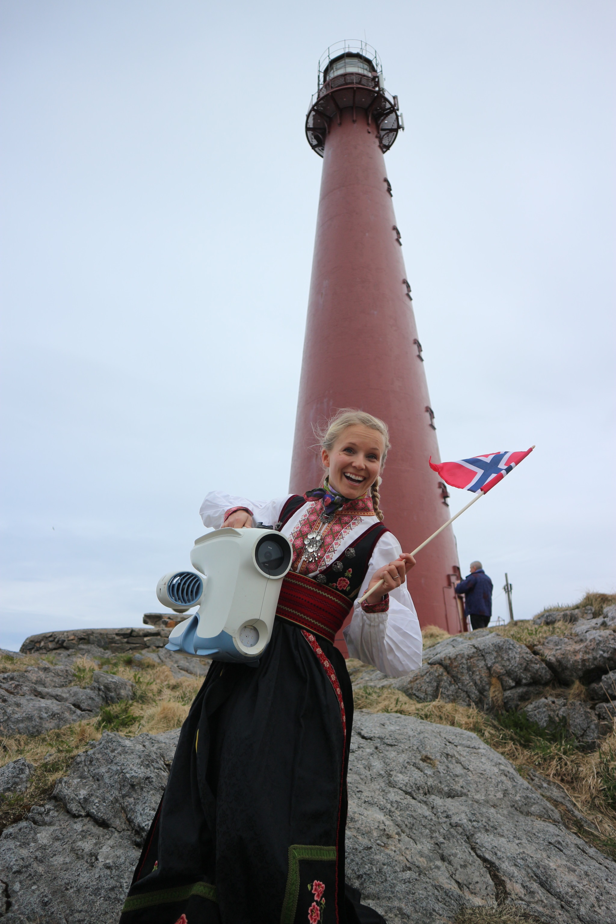 Christine in bunad outside Andenes lighthouse