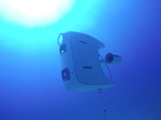 Our first prototype, PioneerX, going down into the deep blue ocean