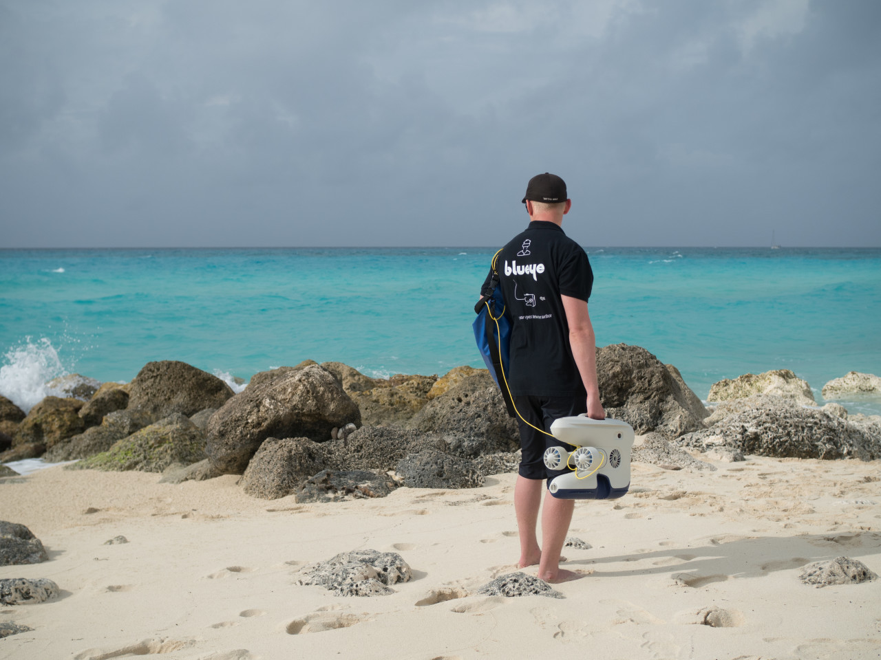 Chief Software Developer Jonas Follesø with the drone on one of the Bimini beaches