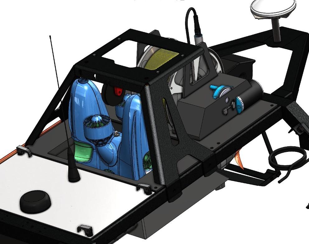 Illustrasjon av en Blueye ROV integrert på Otter USV.