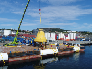 View of the STL buoy at the barge in Kristiansund