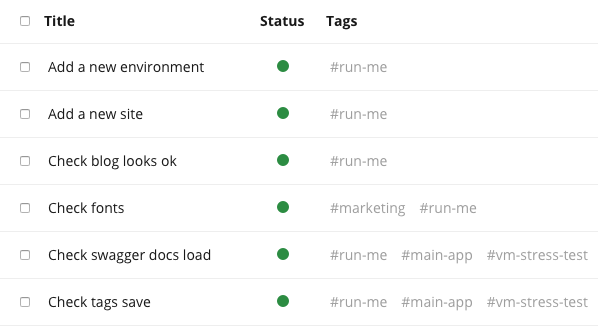 use tags to organize, group, and reuse functional and regression tests