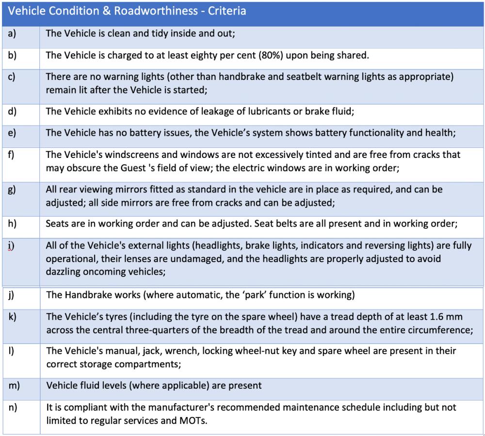 Table 3 Vehicle Condition & Roadworthiness - Criteria