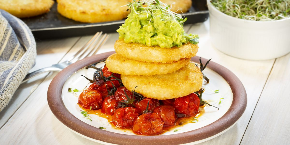 Cauliflower hash brown stack