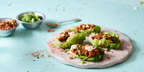 Spiced lamb and pine nut lettuce bowls