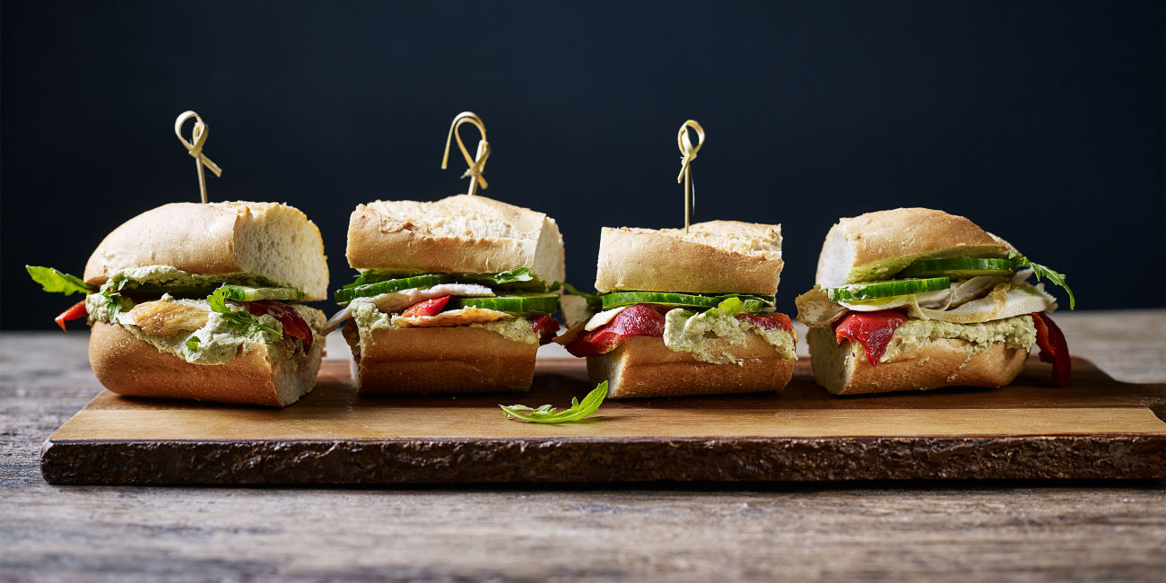 Whipped pesto, chicken and feta sliders