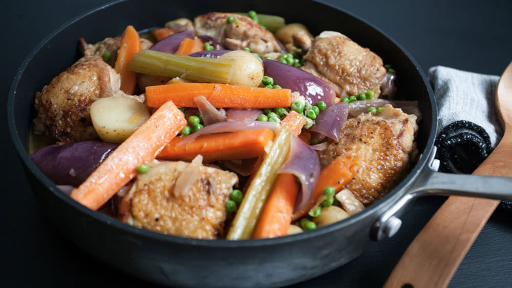 Braised chicken thighs and summer veg