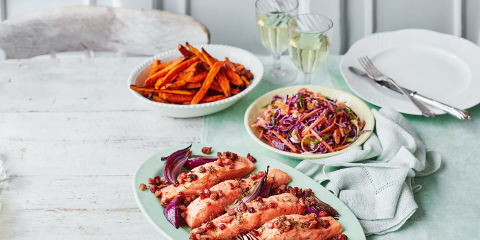 Roasted salmon with sweet potato fries