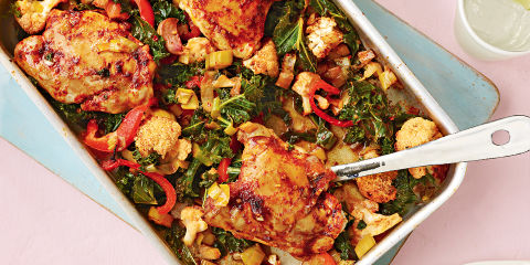 Spicy british chicken traybake