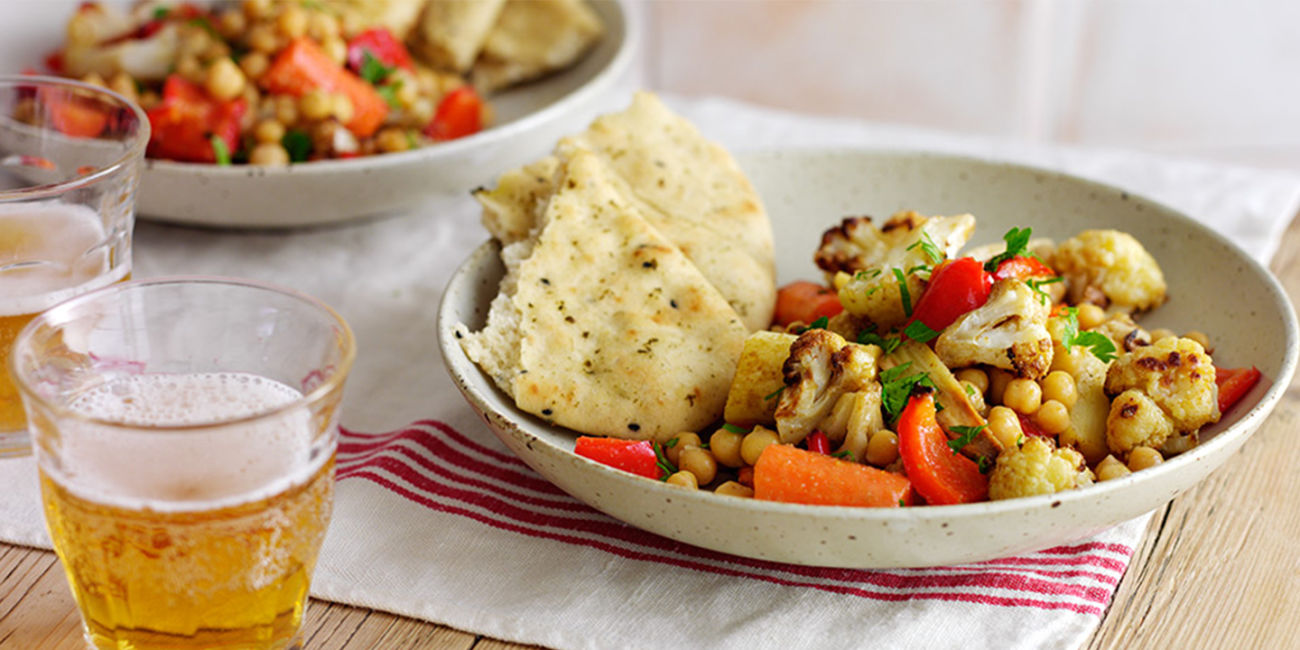 Spicy roasted vegetables with chick peas