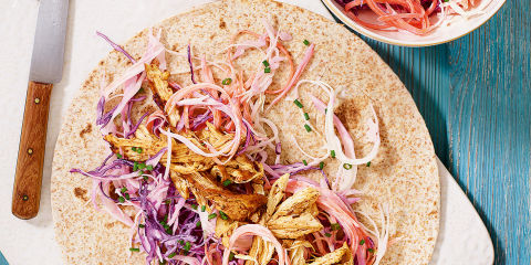 Zingy chicken and lime slaw wraps