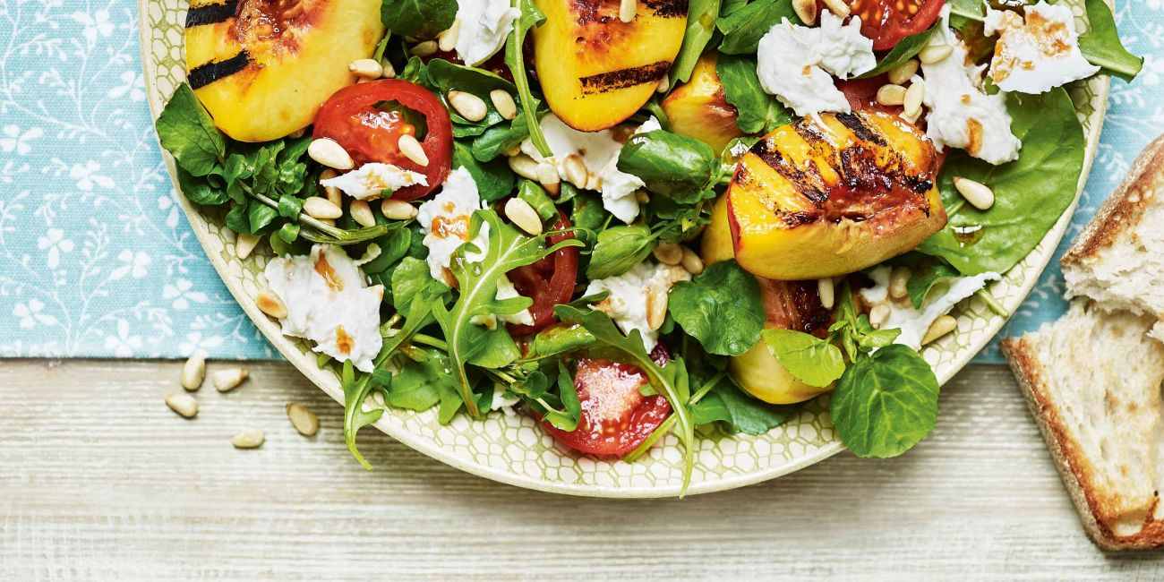 Peach, tomato and mozzarella salad