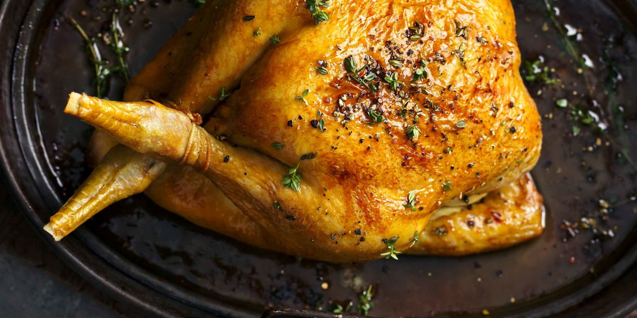Maple-glazed roast chicken