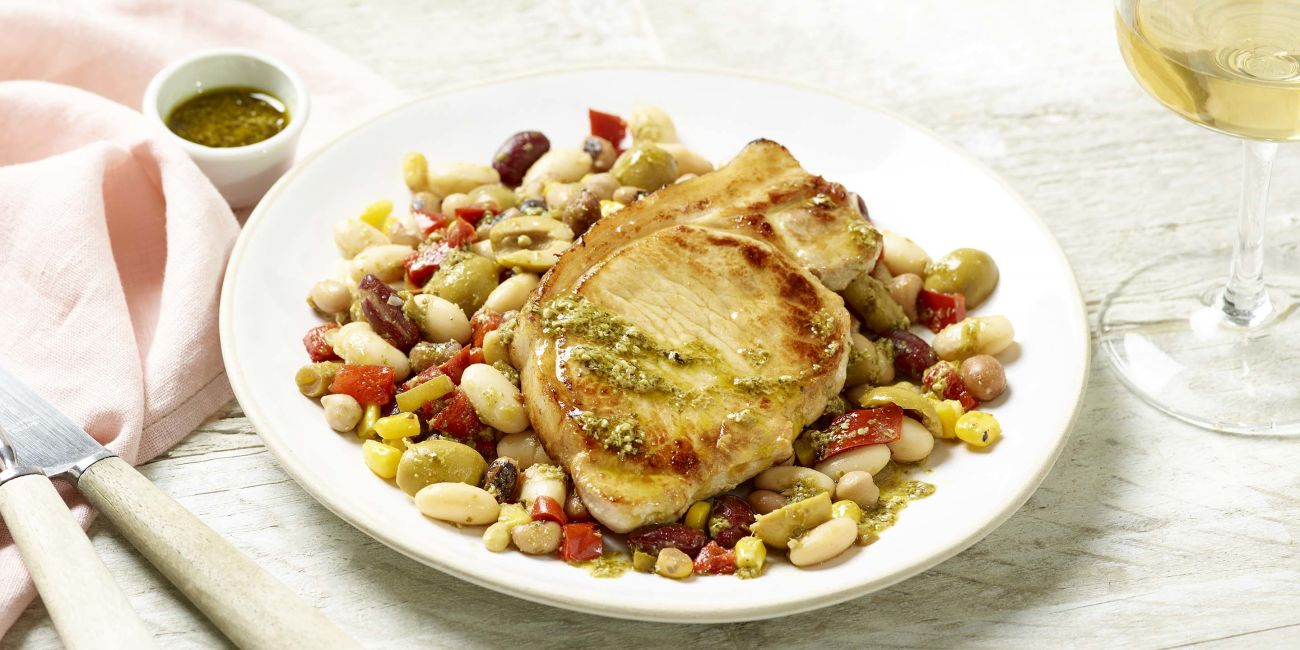 Pork steaks with Italian-style bean salad