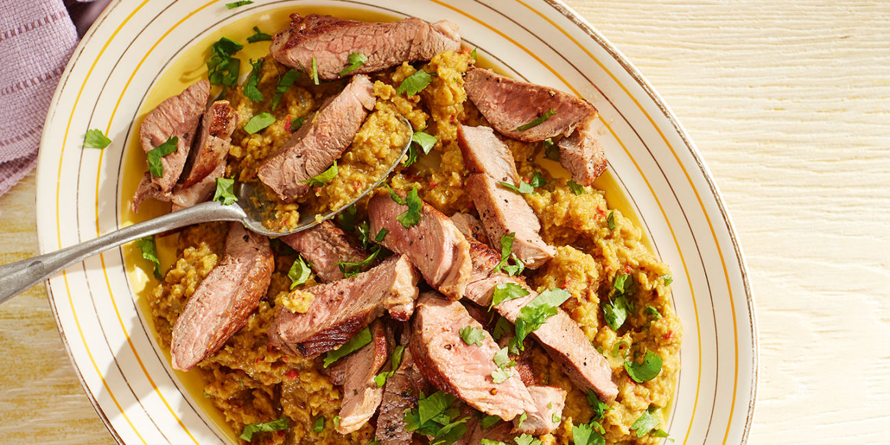 Lamb with spicy lentil mash