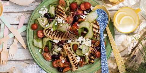 Whipped feta with griddled veggies
