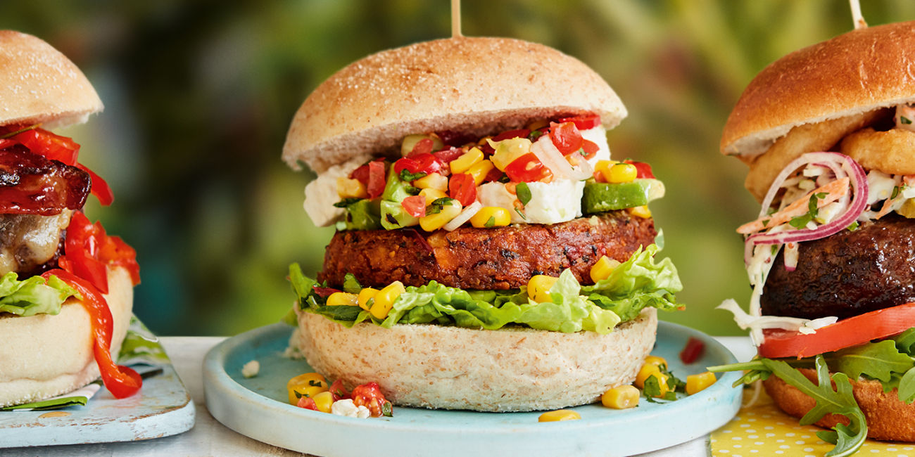 Sweetcorn salsa veggie burger