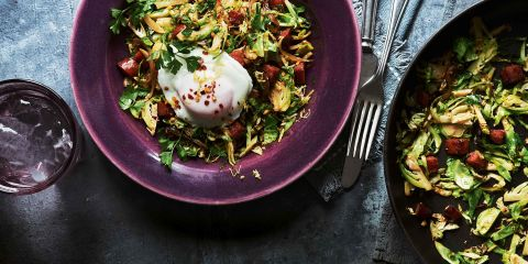 Brussels hash with crispy chorizo and poached egg